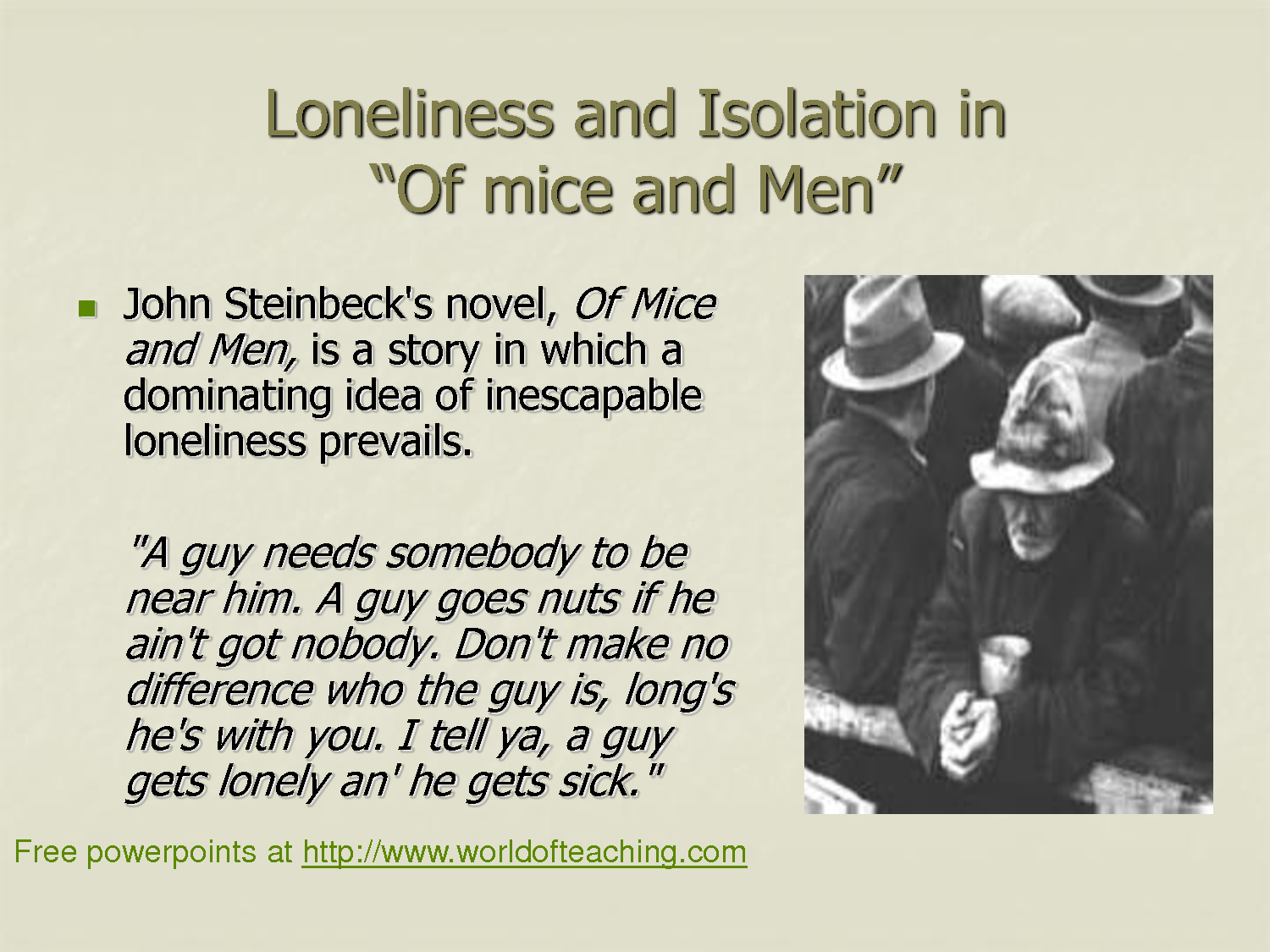 of mice and men essay conclusion loneliness Loneliness: of mice and men- steinbecks during the great depression (1930s-1940s) in america, where nobody had enough.