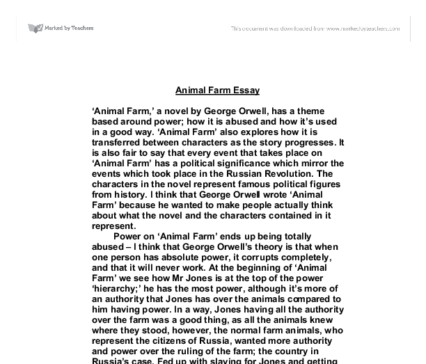 Essay questions on animal farm