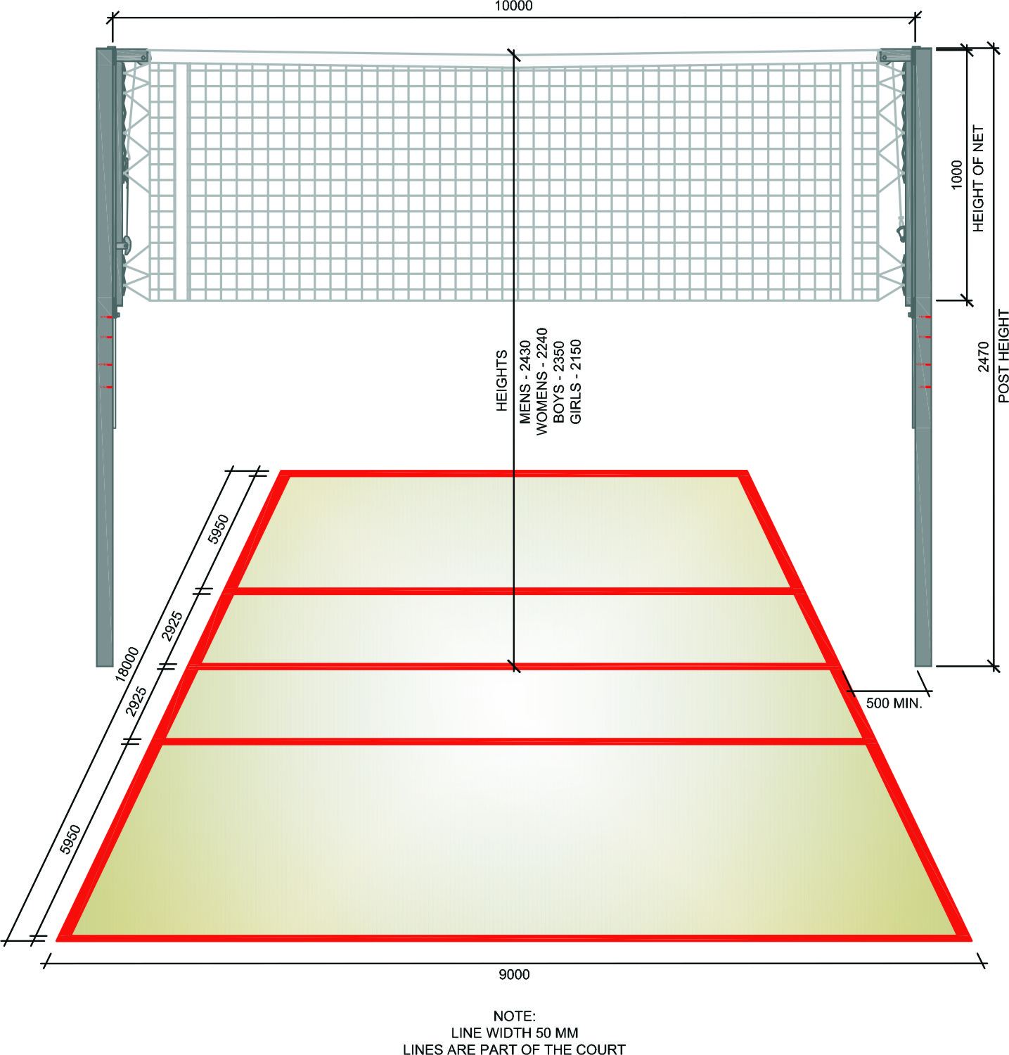 Diagram Of A Volleyball Court Labeled  Conceptdrawcom