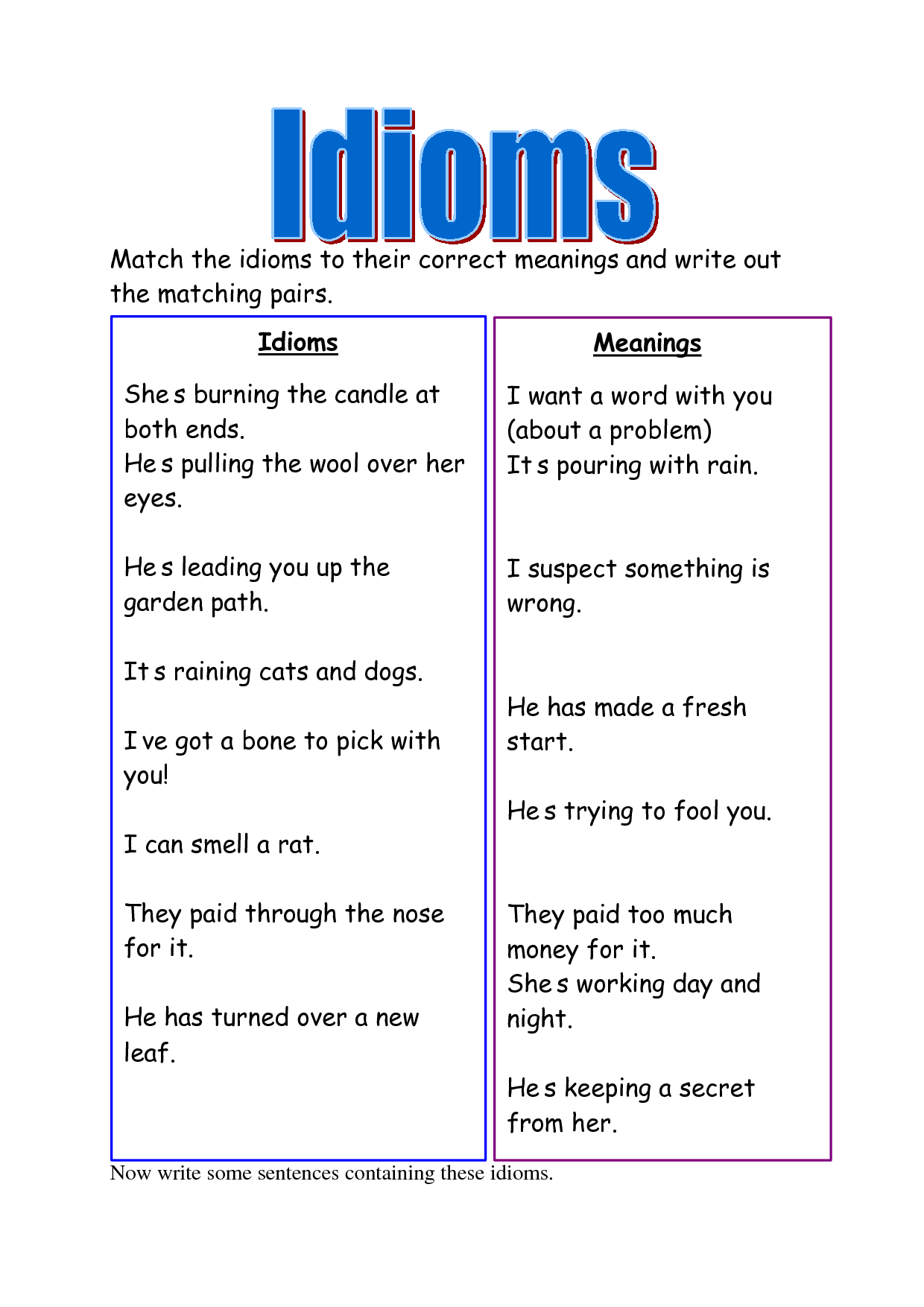 Meanings Pictures Sentence List Idioms By Kids | Autos Post Idioms And Meanings And Sentences