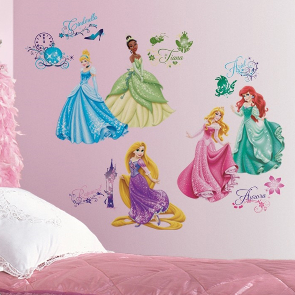 Disney princess quotes wall quotesgram for Disney princess mural stickers
