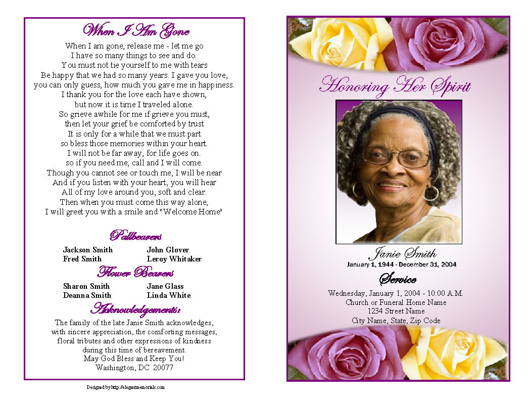 This is an image of Crafty Free Printable Funeral Programs