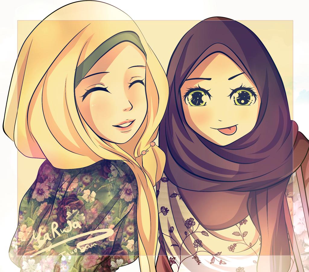 Рисунки девушек в хиджабе
