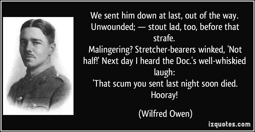 last laugh wilfred owen Complete summary of wilfred owen's disabled enotes plot summaries cover all the significant action of disabled.