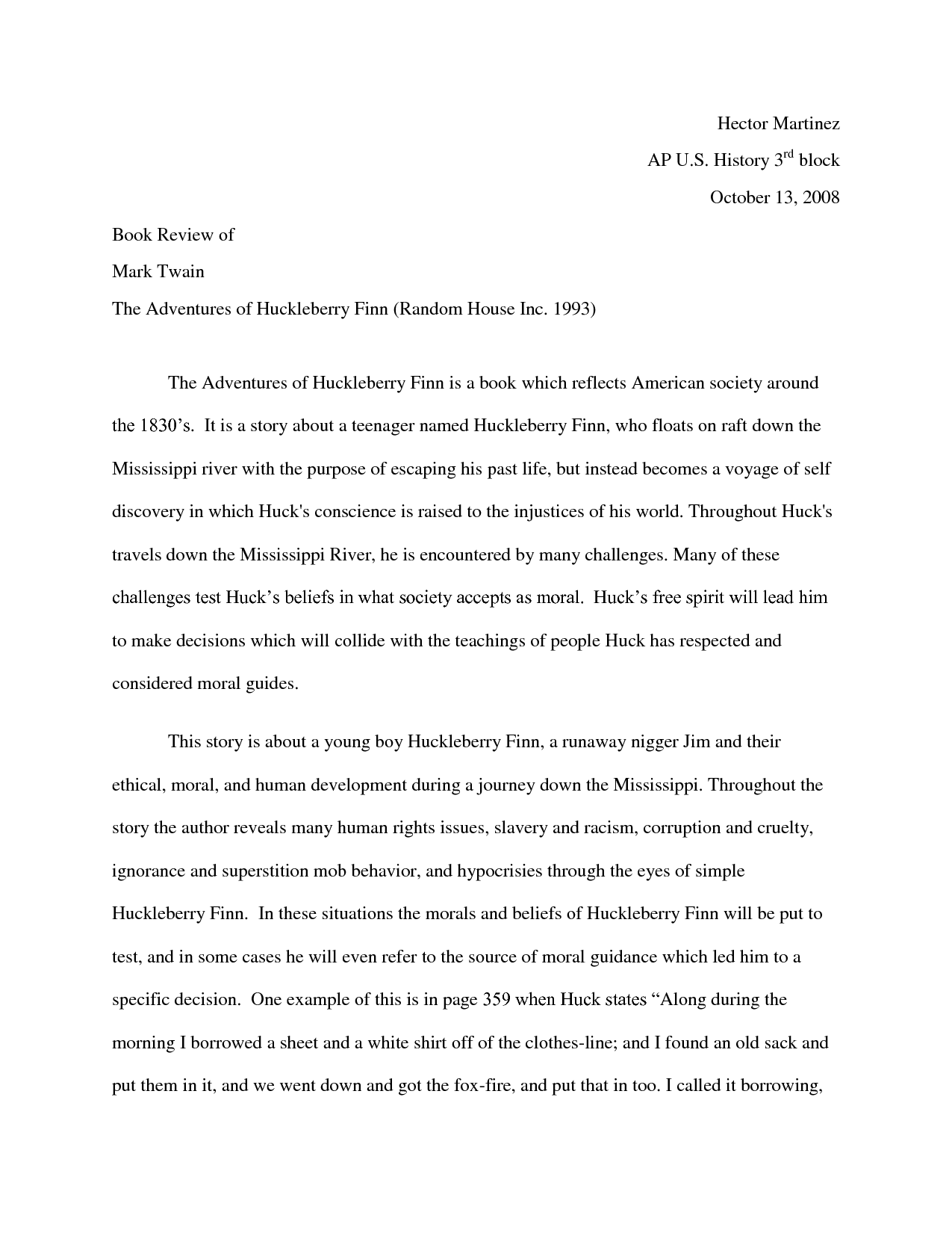 the moral and ethical development of huckleberry finn