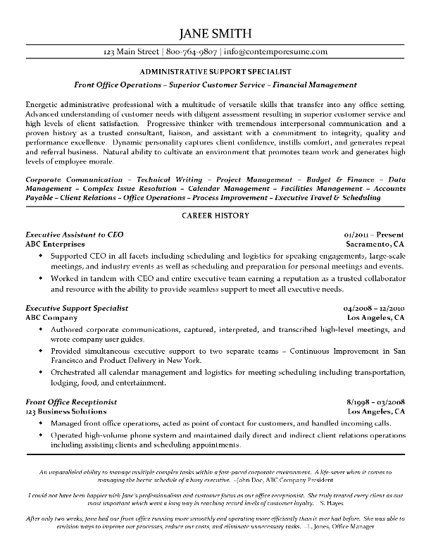 Using reference quotes in resume