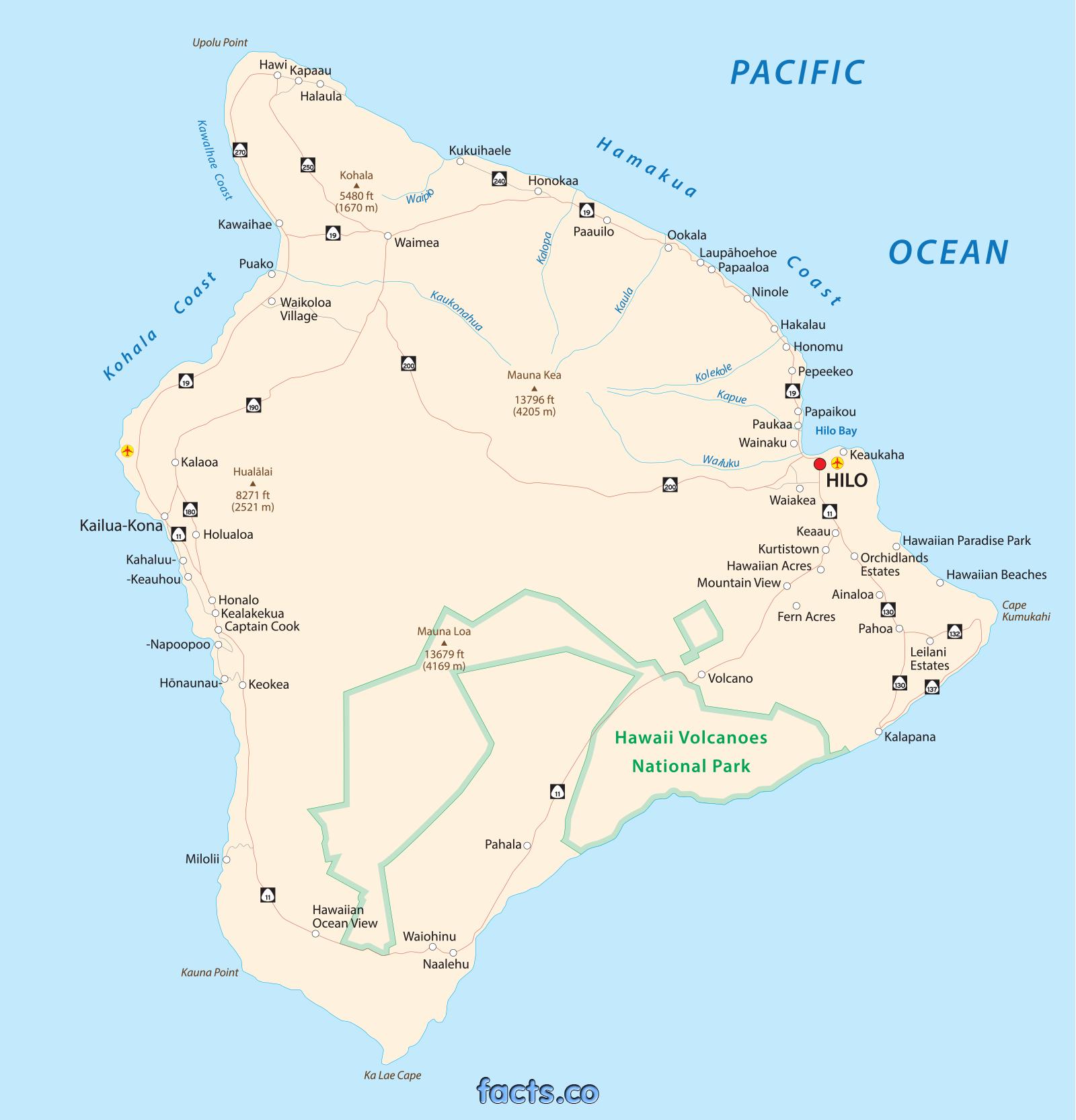 Map Of The Big Island Hawaii Printable