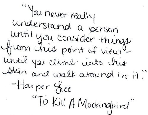 empathy essays kill mockingbird Empathy — how it is discussed and deployed by both the characters in to kill a mockingbird and by the author, lee — is a useful lens to view the depictions of racial injustice in the novel because empathy is the moral fulcrum on which the narrative turns.