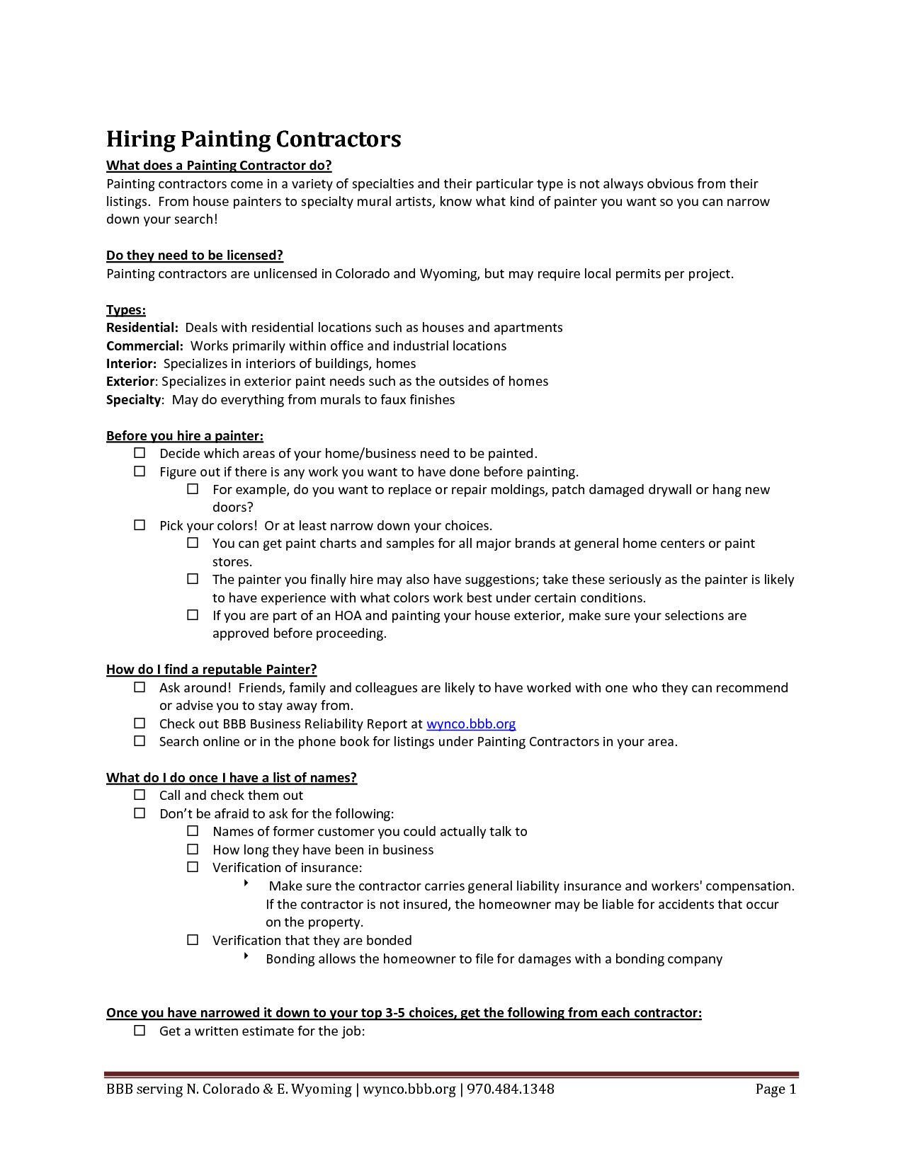 Painting Proposal Template 6 bid advertisement examples quote – Painting Contract