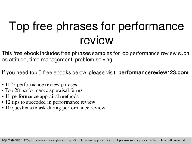 Self Evaluation Examples For Performance Review