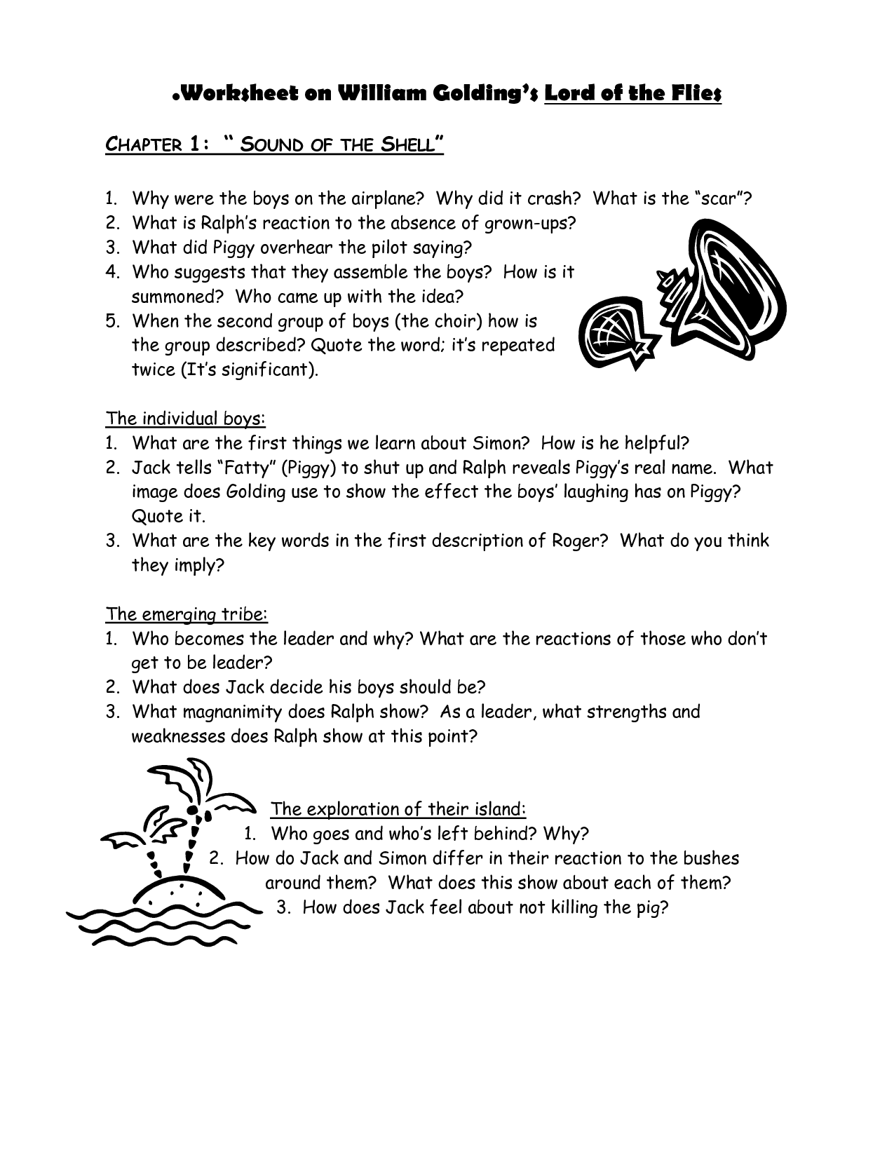 Lord Of The Flies Worksheets Templates and Worksheets – Lord of the Flies Worksheets