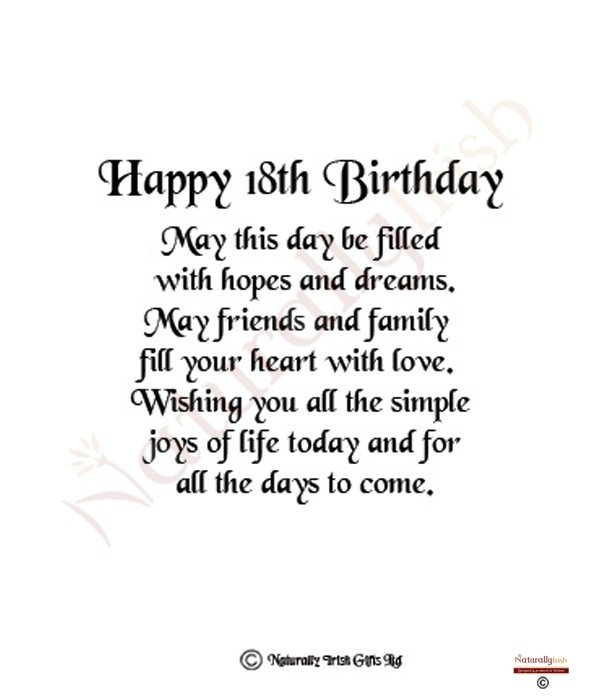 Admirable 18Th Birthday Poems Quotes Quotesgram Funny Birthday Cards Online Fluifree Goldxyz