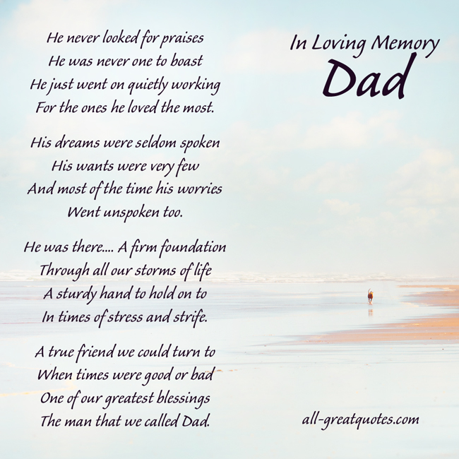 My Dad Dads And Father In Memory Of: Dad Remembrance Quotes. QuotesGram