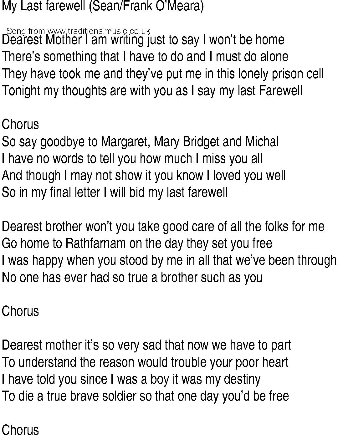 Farewell Letter