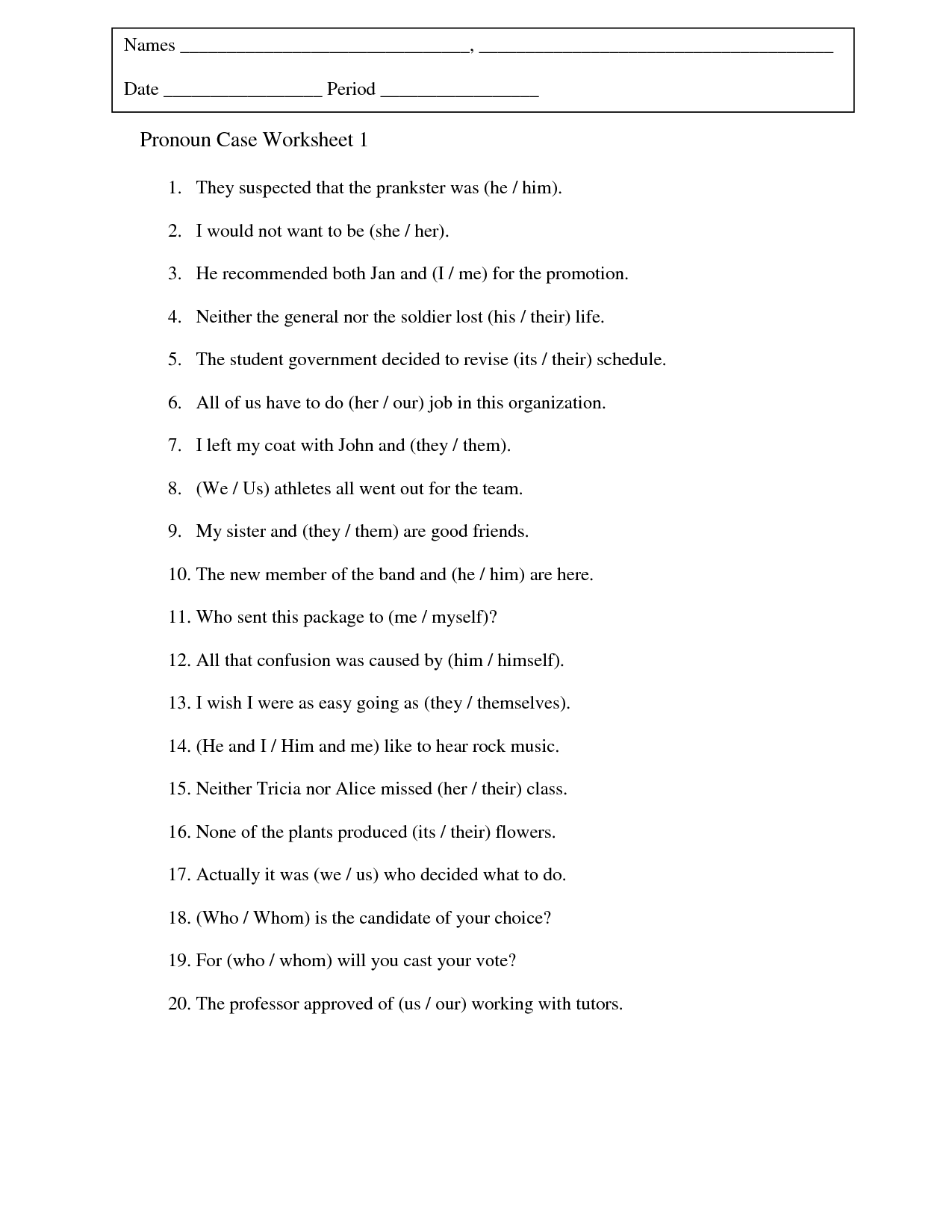 {Printables Pronoun Case Worksheet Cinecoa Thousands of Printable – Pronoun Case Worksheet