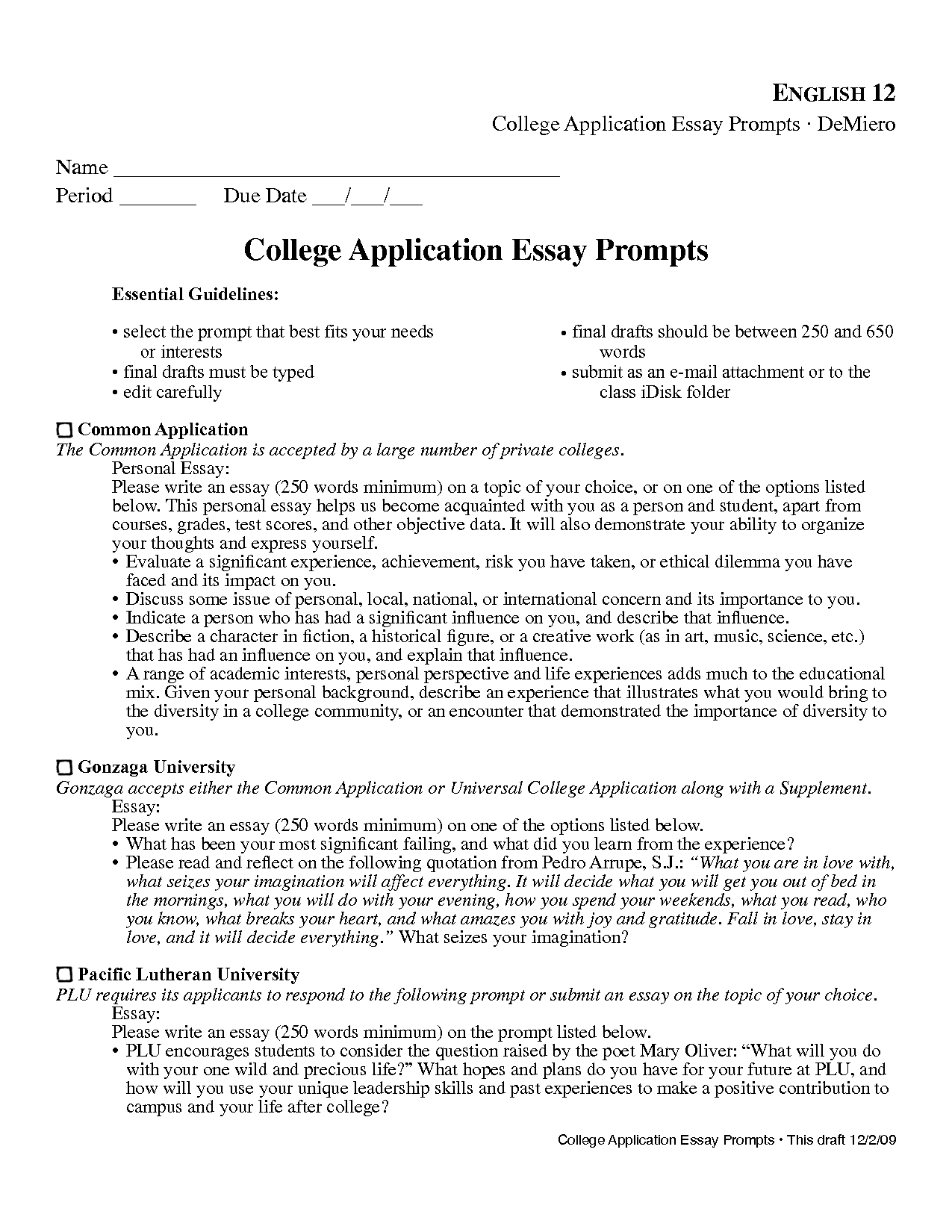 Prompt 1 college essay examples