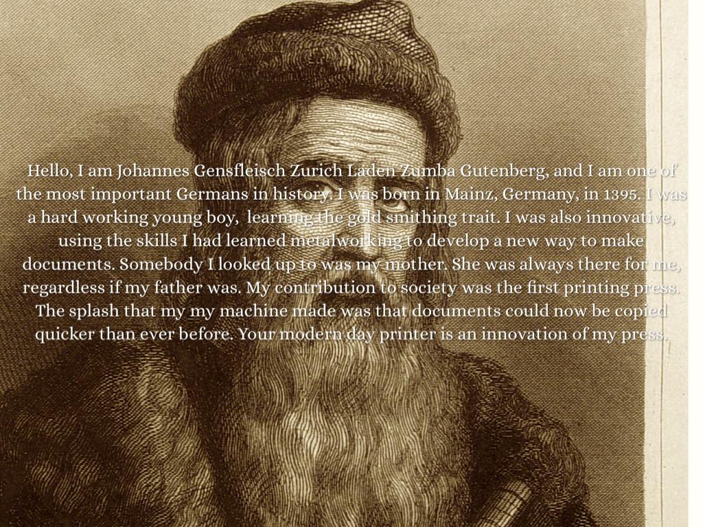 johannes gutenberg Gutenberg johannes gensfleisch zur laden zum gutenberg (c 1398 – c  february 3, 1468) was a german metal-worker and inventor who achieved fame  for.