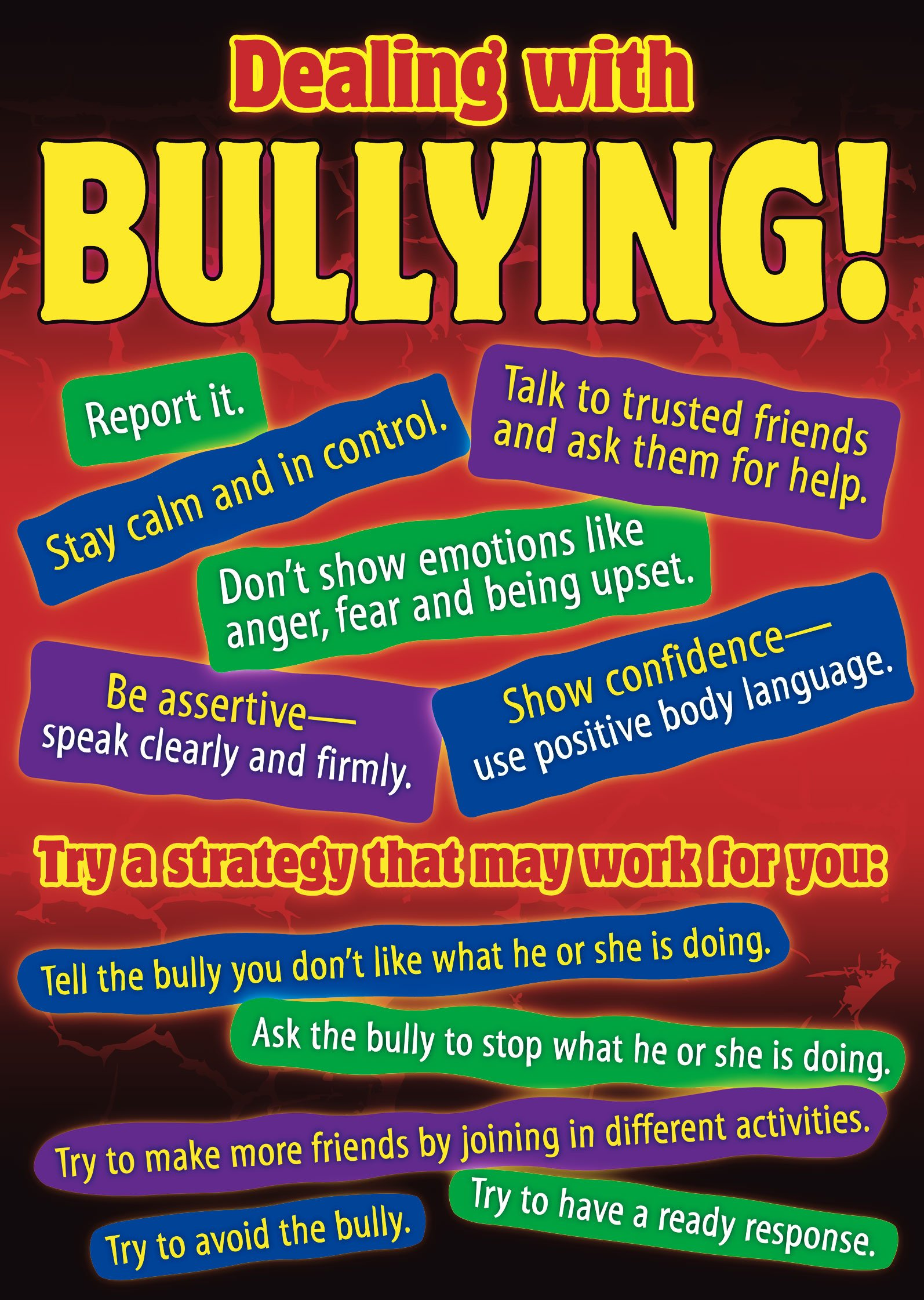 advice for dealing with bullying essay 14 and 20% of students in schools will experience bullying at least once during  their academic career  provide the victim with helpful tips to cope with bullying.