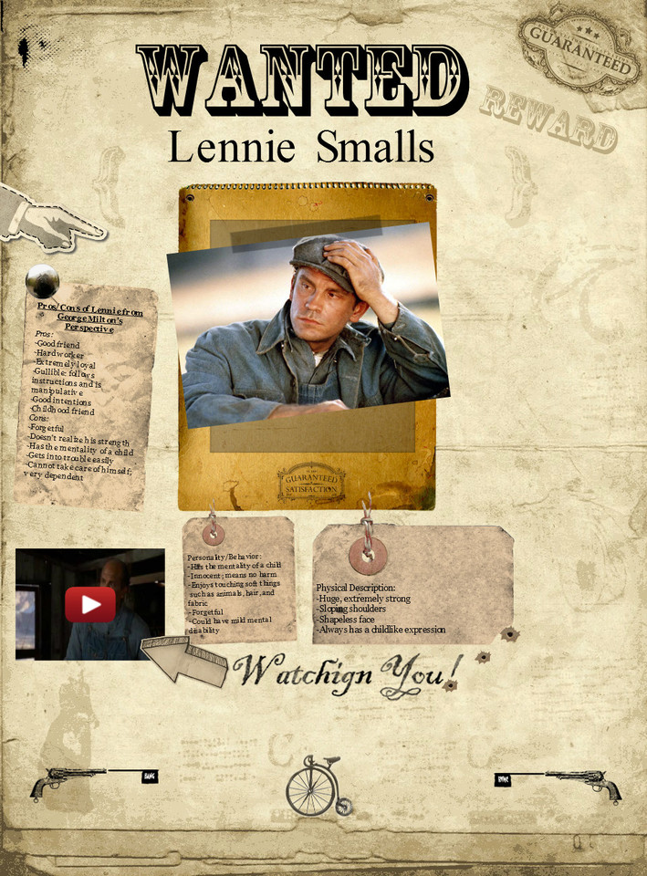 lennie small of mice and The story of mice and men, written by american author john steinbeck, tells the tale of the unlikely friendship that forms between the characters lennie small and.