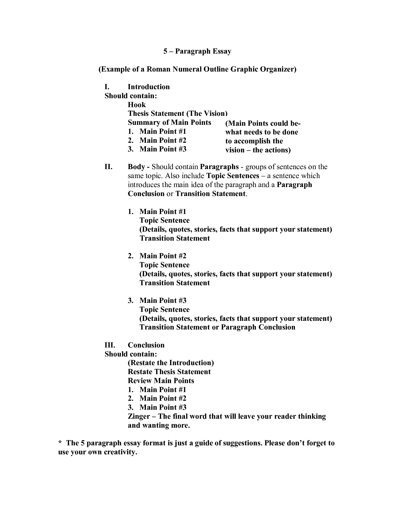 paragraph essay outline format teaching the five paragraph essay