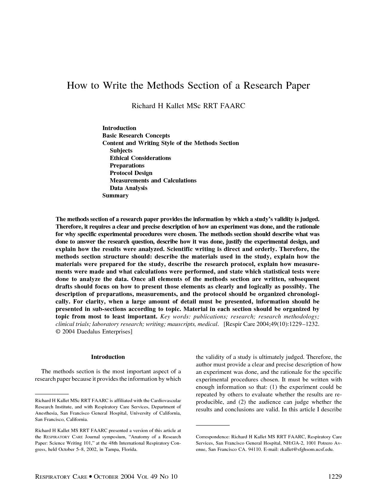 Research paper service methods section example