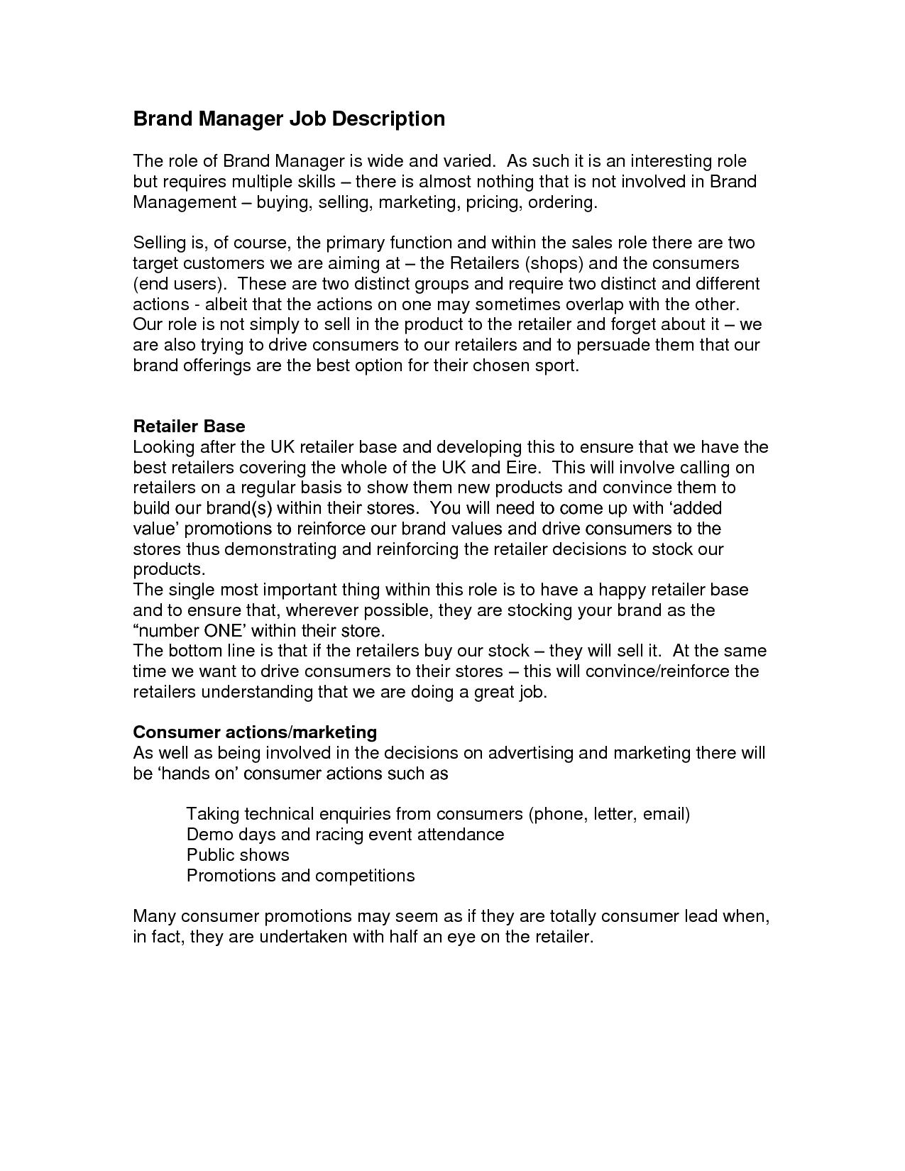 Job Description Quotes QuotesGram – Brand Manager Job Description