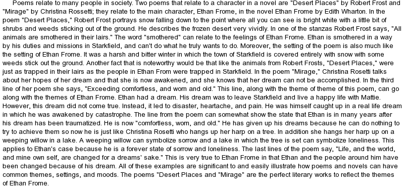 Ethan frome symbolism essay