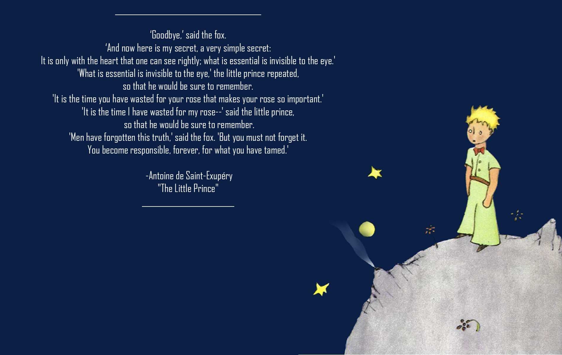 Little Prince Exupery Quotes Quotesgram