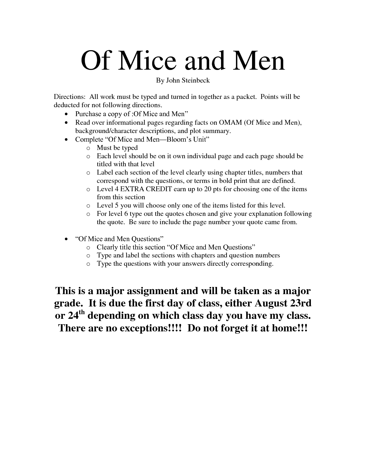Of mice and men turning point