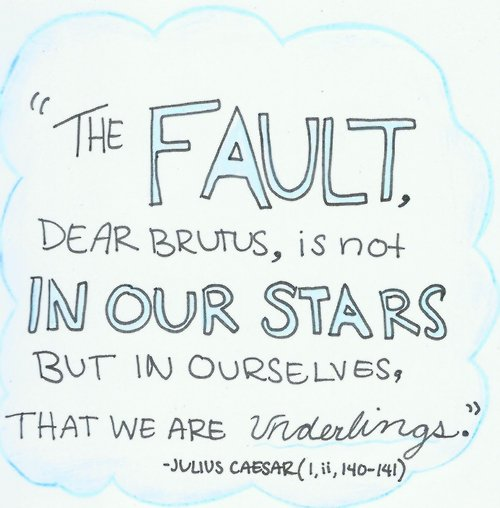 """""""The fault is not in our stars but in ourselves"""" is a saying that illustrates?"""
