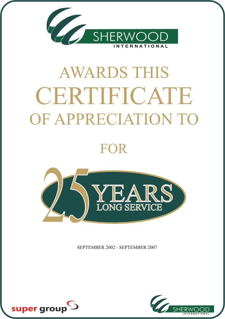 Long service award quotes quotesgram for Certificate of service template