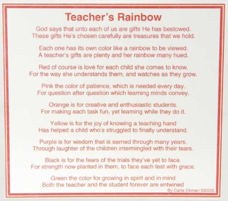 Teacher appreciation poems from students