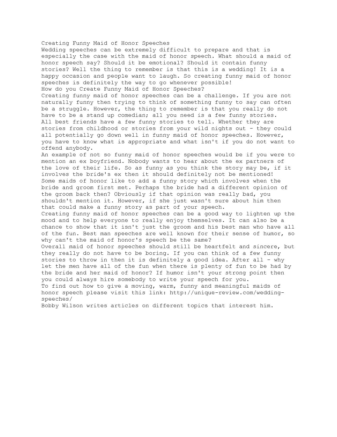 Maid Of Honor Speech Quotes Quotesgram