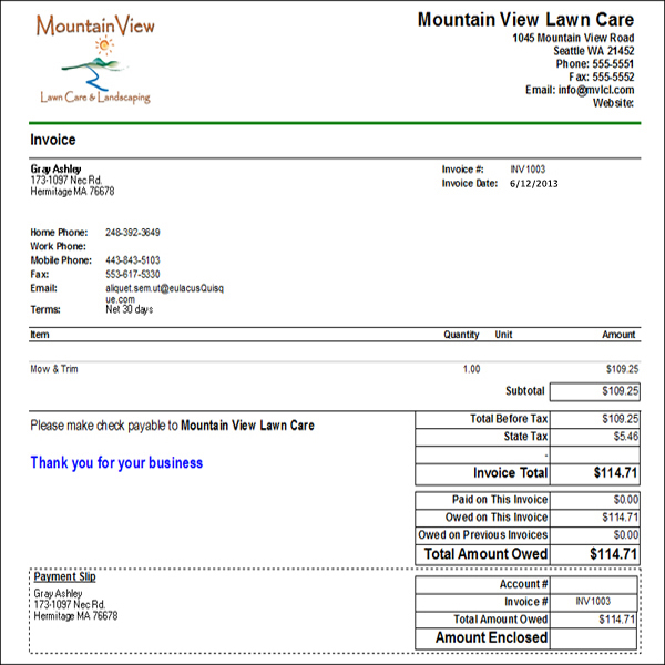 samples of lawn care quotes. quotesgram, Invoice templates