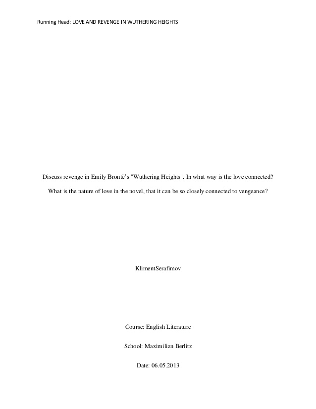 wuthering heights revenge theme essay