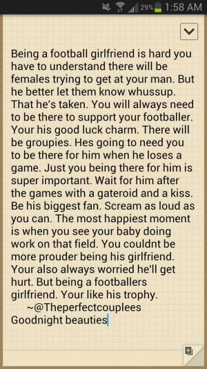 Football Quotes For Girlfriends Football girlfriend :)