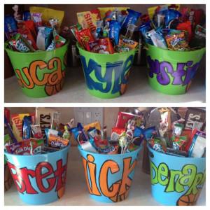 Boys basketball senior night gifts. Candy buckets :)