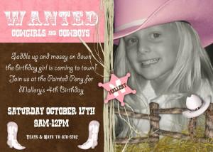 Cowgirl Birthday Invitation Sayings
