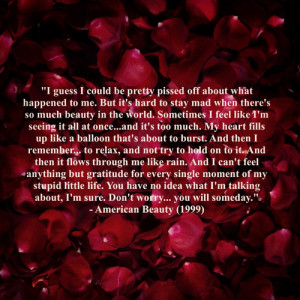 watched American Beauty just now and am in complete awe. The movie ...