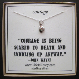 Sterling Silver Cowboy Hat Charm Necklace - QUOTE CARD - COURAGE - A ...