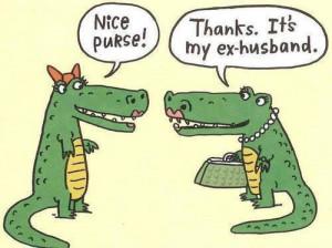 Funny Alligator Ex-Husband Purse Cartoon Picture
