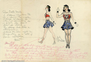 1941 sketch of Wonder Woman's costume, the first of many variations ...