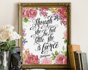 ... she is fierce, quote printable hand lettered print, Shakespeare quote