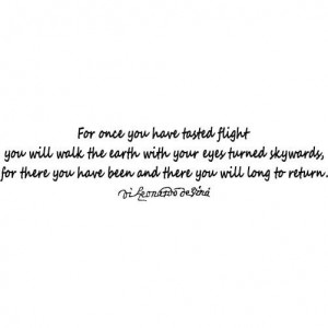 Leonardo Da Vinci Quote - Tasted Flight -SMALL- Vinyl Wall Decal ...