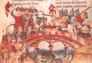 Битва монголов с венграми на мосту ...