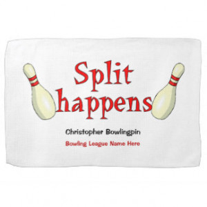 Personalized funny split happens bowling towel