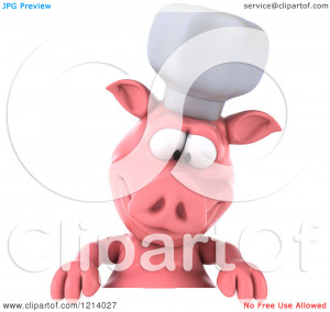 Chef Pig Looking down at a Sign - Royalty Free Illustration by Julos ...