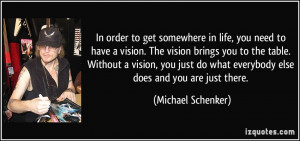 to have a vision. The vision brings you to the table. Without a vision ...