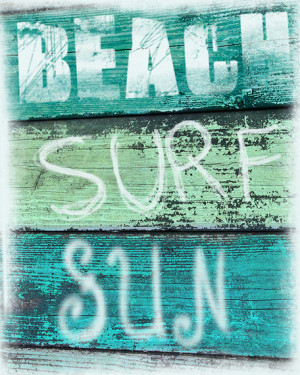 Vintage Beach Sign Art Print - Beach Surf Sun Aqua Green Blue Beach ...