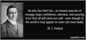 of courage, hope, confidence, calmness, and assuring trust that all ...